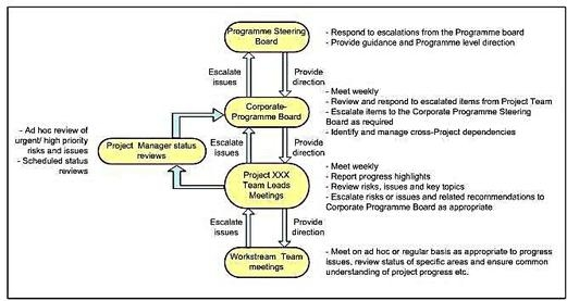 Writing a PID Organisation and Governance Section, Project Governance Diagram which details the reporting and escalation structure for the Project